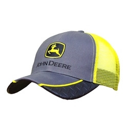 John Deere Yellow Diamond Plate Mesh Baseball Cap