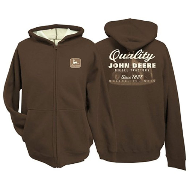 John Deere Diesel Tractors Thermal Zip-up Hoodie
