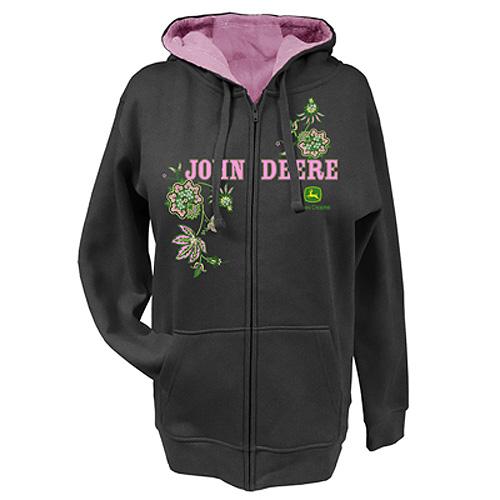 John Deere Flowers And Sequins Zip Hoodie