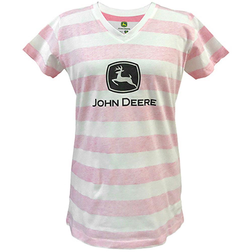 John Deere Striped V-Neck T-Shirt