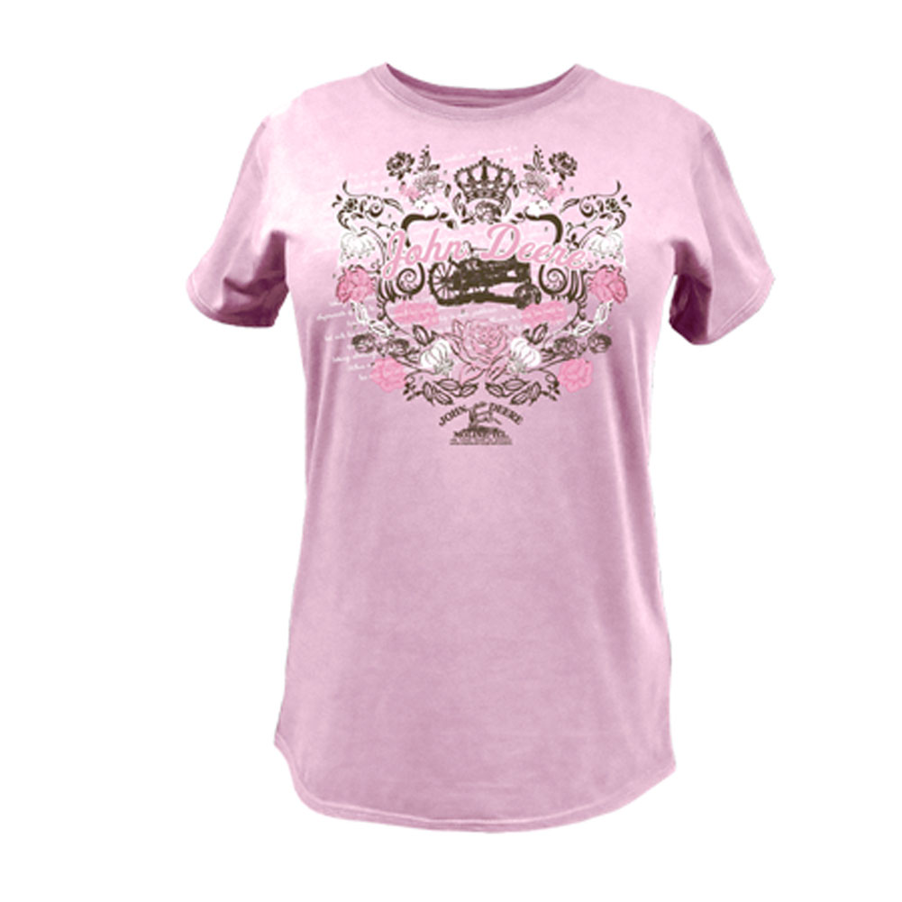 John Deere Tractor And Floral Design T-Shirt