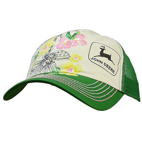 John Deere Rhinestones And Floral Print Mesh Cap