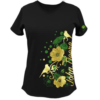 John Deere Gold Foil Flowers And Birds T-Shirt