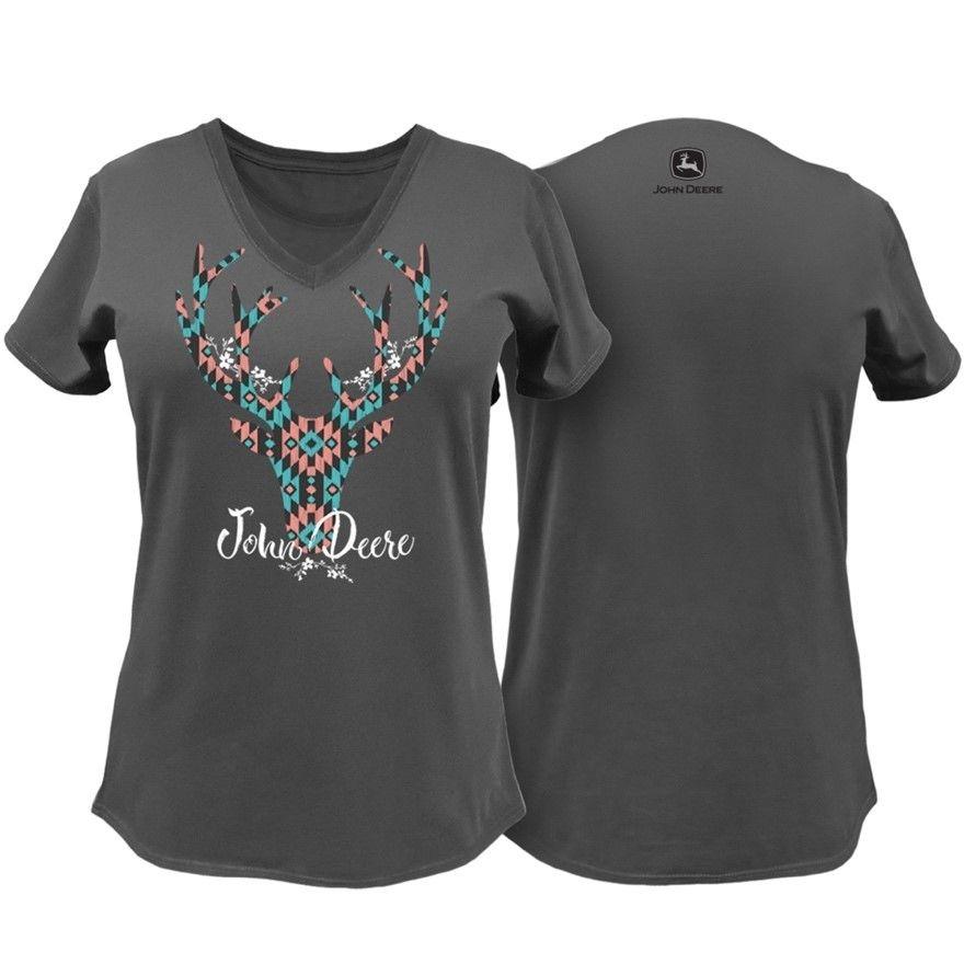 John Deere Women's Deer V-Neck T-Shirt