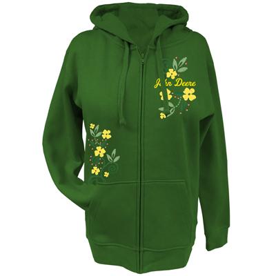 John Deere Flowers And Studs Zip Up Hoodie